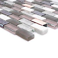 Chelsea Grey Copper effect Glass & stone Mosaic tile, (L)298mm (W)304mm