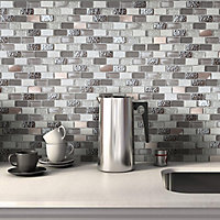 Chelsea Grey Copper effect Glass & stone Mosaic tile sheets, (L)298mm (W)304mm