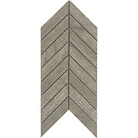 Chevron mosaic Brown Matt Wood effect Porcelain Wall & floor tile, (L)300mm (W)155mm