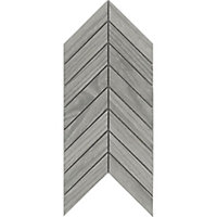 Chevron mosaic Grey Matt Wood effect Porcelain Wall & floor tile, (L)300mm (W)155mm