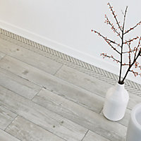Chevron mosaic White Matt Wood effect Porcelain Wall & floor tile, (L)300mm (W)155mm