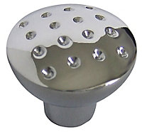 Chrome effect Zinc alloy Round Dimple Furniture Knob (Dia)27mm, Pack of 6
