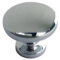 Chrome effect Zinc alloy Round Furniture Knob (Dia)30mm, Pack of 6
