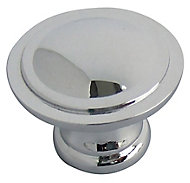 Chrome effect Zinc alloy Round Furniture Knob (Dia)30mm, Pack of 6