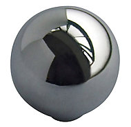 Chrome effect Zinc alloy Round Furniture Knob (Dia)32mm, Pack of 6