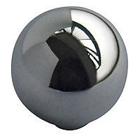 Chrome effect Zinc alloy Round Furniture Knob (Dia)32mm, Pack of 6