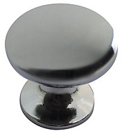 Chrome effect Zinc alloy Round Furniture Knob, Pack of 6