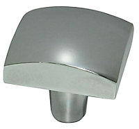 Chrome effect Zinc alloy Square Furniture Knob (Dia)31.8mm