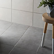 Cimenti Grey Matt Concrete effect Porcelain Floor tile, Pack of 20, (L)307mm (W)307mm