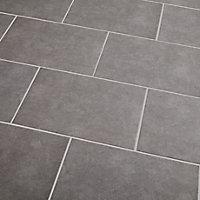 Cimenti Grey Matt Flat Ceramic Wall Tile, Pack of 10, (L)402.4mm (W)251.6mm
