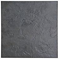 Cirque Black Matt Plain Stone effect Square Ceramic Floor Tile Sample