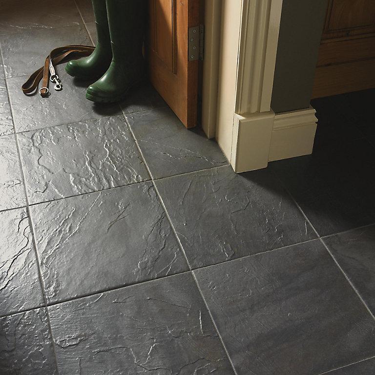 Cirque Black Matt Stone Effect Ceramic, Black Stone Tile Flooring