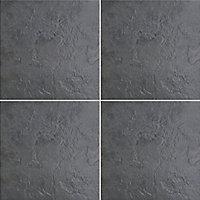 Cirque Black Matt Stone effect Ceramic Wall & floor Tile, Pack of 9, (L)333mm (W)333mm