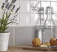 City chic White Matt Plain Ceramic Wall tile, (L)400mm (W)150mm, Sample