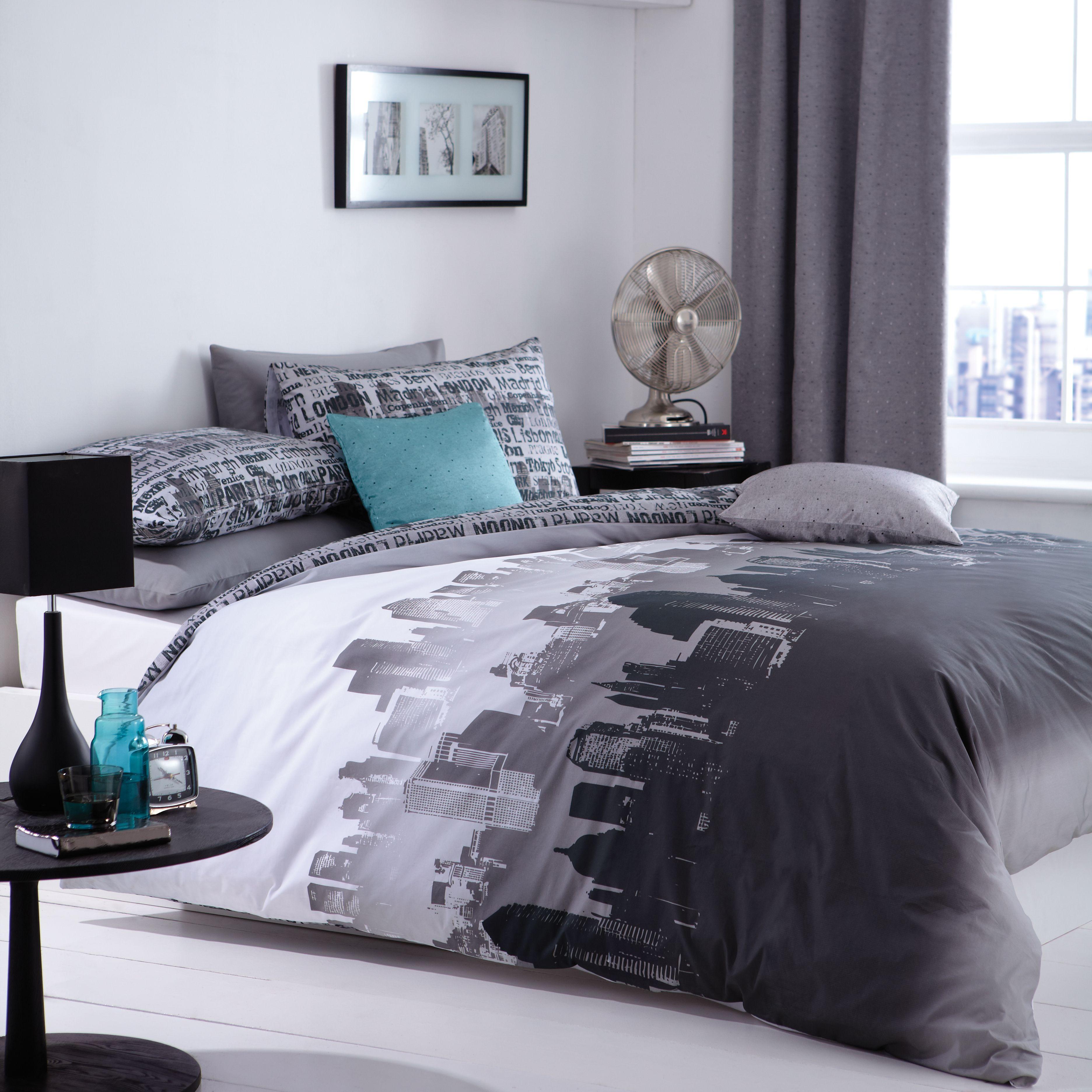 Cityscape Black White Single Bedding Set Diy At B Q