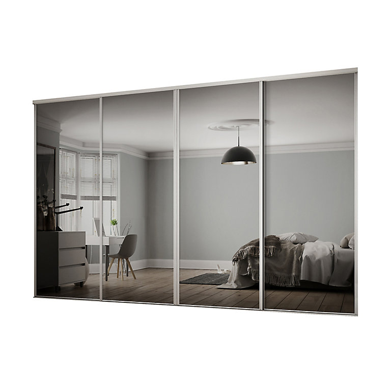 Classic Mirrored White 4 Door Sliding, White Mirror Sliding Closet Door