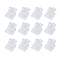 Clear Nickel-plated Plastic Shelf support (L)14mm, Pack of 12