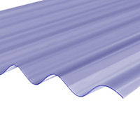 Clear PVC Corrugated Roofing sheet (L)2m (W)950mm (T)0.8mm