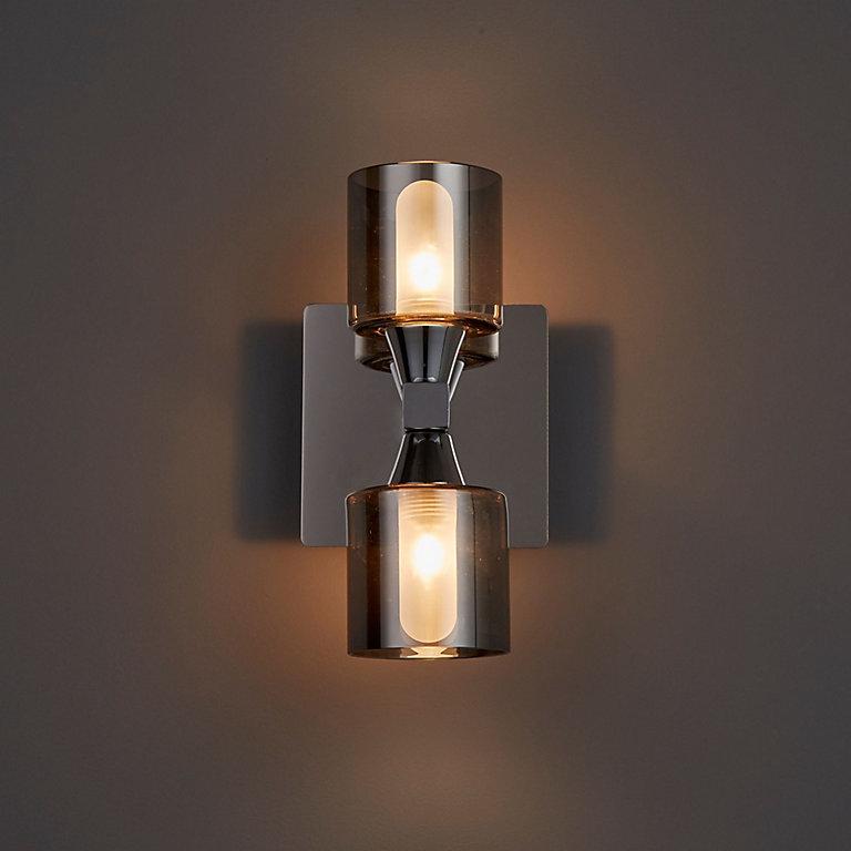 Cobark Smoked Effect Bathroom Wall Light Diy At B Q