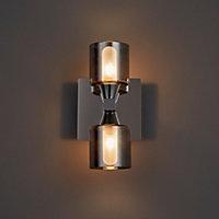 Cobark Smoked effect Double Bathroom Wall light