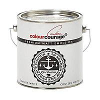 colourcourage Contzen white Matt Emulsion paint 2.5L