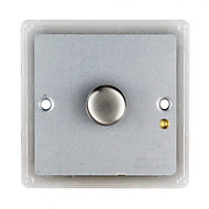 Colours 1 way Single Stainless steel effect Dimmer switch