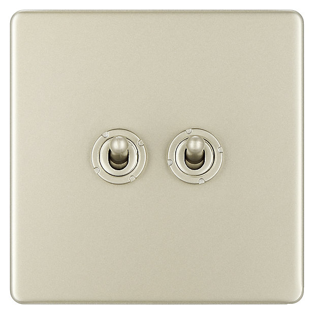 Colours 10a 2 Way Nickel Effect Double Toggle Switch Diy At B Q