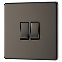 Colours 10A 2 way Polished black nickel effect Double Light Switch