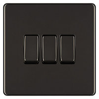 Colours 10A 2 way Polished black nickel effect Triple Light Switch