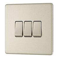 Colours 10A 2 way Polished nickel effect Triple Light Switch