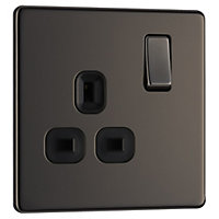 Colours 13A Black nickel effect Single Indoor Switched Socket
