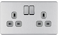 Colours 13A Stainless steel effect Double Indoor Switched Socket