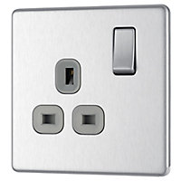 Colours 13A Stainless steel effect Single Indoor Switched Socket