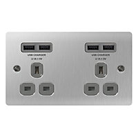 Colours 13A Steel effect Brushed Double USB socket
