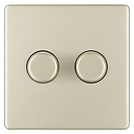 Colours 2 way Double Nickel effect Dimmer switch