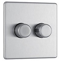Colours 2 way Double Stainless steel effect Dimmer switch