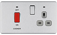 Colours 45A Brushed steel effect Cooker Switch