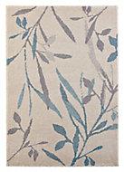 Colours Aaliyah Trailing leaf Beige & blue Rug (L)1.7m (W)1.2m
