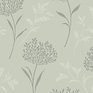 Colours Agapanthas Green Floral Glitter effect Smooth Wallpaper