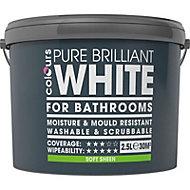 Colours Bathroom White Soft sheen Emulsion paint, 2.5L