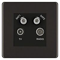 Colours Black nickel effect Coaxial & satellite socket