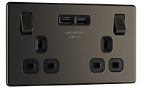Colours Black Nickel effect Double USB socket, 2 x 2.1A USB