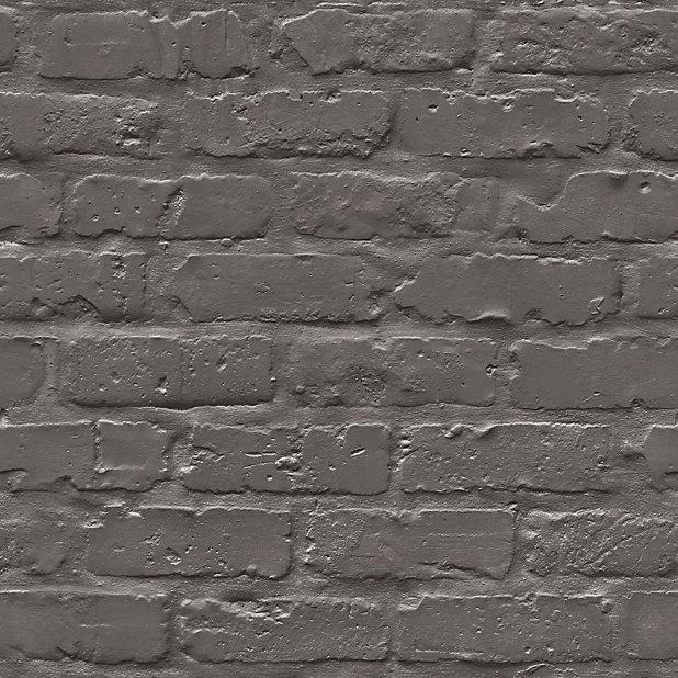 Colours Black Painted Brick Embossed Wallpaper Diy At B Q