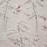 Colours Blossoming Grey & plum Birds & foliage Textured Wallpaper