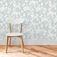 Colours Blue & white Floral Mica effect Wallpaper
