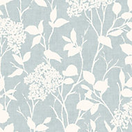 Colours Blue & white Floral Mica effect Wallpaper