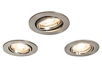Colours Brushed Chrome effect Adjustable LED Downlight 4.9W IP20, Pack of 3