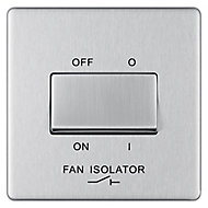 Colours Brushed stainless steel effect Single 10A Fan isolator Switch
