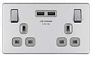Colours Brushed Steel effect Double USB socket, 2 x 2.1A USB