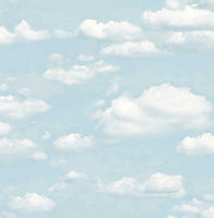 Colours Chalk blue Clouds Mica effect Smooth Wallpaper